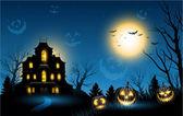 Halloween haunted house copyspace background — Stock Vector