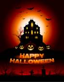 Red Halloween haunted house background — Stock Vector