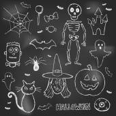 Halloween hand drawn doodles over black board — Stock Vector