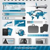 Air travel design elements flight boarding — Stock Vector