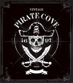 Vintage Piraten Schädel Rahmen Hintergrund — Stockvektor