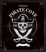 Vintage pirates skull frame background — Vettoriale Stock