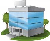 ThreeD Vector office building illustration — Stok Vektör