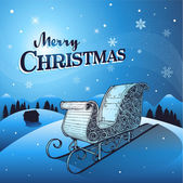 Blue Christmas winter background with santa sleigh — Stock Vector