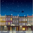 Old street Christmas background at night — Stock Vector #56160495
