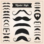 Hipster style mustache vector set — Stock Vector