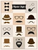 Hipster styl wąsy kapelusz okulary wektor zestaw — Wektor stockowy