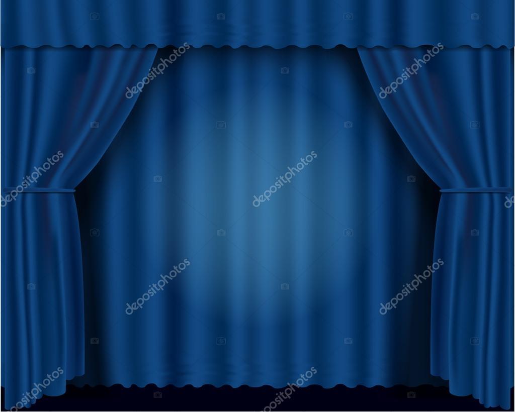 蓝色的向量戏剧窗帘 eps 10– 图库插图