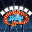 Retro motel Showtime theatre cinema Sign — Vector de stock  #59471107
