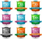 Web satisfaction guarantee badges — Stock Vector