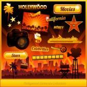 Hollywood cinema movie elements — Stock Vector