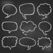 Hand drawn cartoon speech bubble on black board — Stockvektor