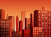 Sunset cityscape vector illustration background — Stock Vector