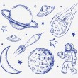 Space doodle set vector elements — Stock Vector #72764991