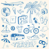 Hand drawn travel doodles vector illustration — Stock Vector