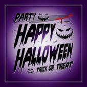 Vintage Happy Halloween Typographical purple Background With Pumpkins and knife — Stock Vector