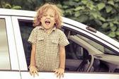 Portrait of a screaming little boy — Stockfoto