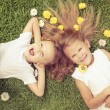 Happy little boy and girl lying on the grass — Stock Photo #55775145