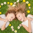 Happy little boy and girl lying on the grass — Stock Photo #55775407