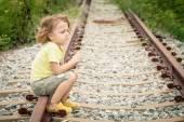 Portrait of sad blond little boy — Stock Photo
