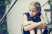 Portrait of sad blond teen girl — Stock Photo