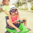 Two happy children playing on the road — Stock Photo #65973135