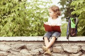 Little boy with book sitting in the park — Stock Photo