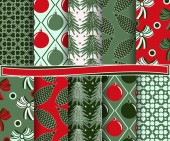 Set of abstract vector Christmas paper for scrapbook — Stock Vector