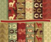 Set of abstract Christmas vector paper for scrapbook — Vettoriale Stock