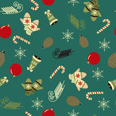 Seamless christmas vector illustration background with Christmas symbols — Stock Vector