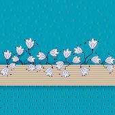 Abstraktes Vektor Blume Kompositionen. Grußkarte — Stockvektor