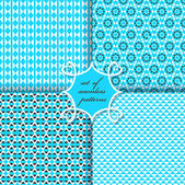 Set of seamless vector illustrations. Geometric flowers, figures — Stock Vector