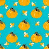 Seamless abstract vector illustration with leaves and pumpkins — Stock Vector