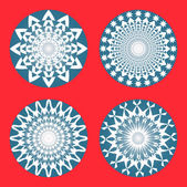 Vector set of abstract circular patterns — Stock Vector