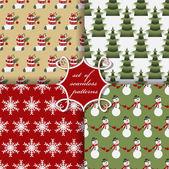 Set of Christmas seamless vector illustration. Christmas symbols, patterns — Stock Vector