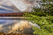 Colorful Fall scenery view at sunset. — Foto Stock