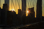 New York City at sunset. — Stock Photo