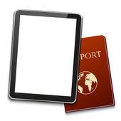 Vector modern computer tablet with passport — Stock Vector