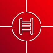 Vector modern white circle icon on red background — Vettoriale Stock