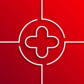 Vector modern white circle icon on red background — Stockvektor