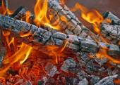 Burning firewood in mongale Barbecue — Stock Photo