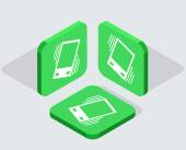 Vector modern 3 isometric app icons — Stock Vector