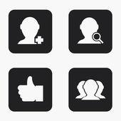 Vector modern social network  icons set — Stock Vector
