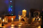 Table set for an home party — Stock Photo