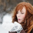 Young beautiful woman having fun in winter — Stock Photo #54932249