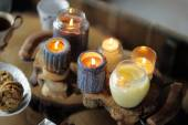 Beautiful ablaze candle  — Stock Photo