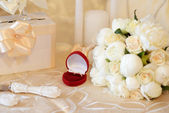 Two wedding rings on the table — Stock Photo