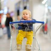 Little boy in the shopping cart — Stock Photo