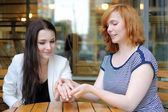 Two young woman portrait — Stock Photo