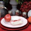 Stylish red table set for wedding party — Stock Photo #67391269
